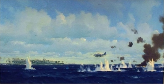 WWII - Midway, art, VT-3 Devastator attacking Soryu