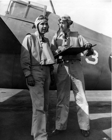 WWII - Midway, Thach - at right - in disc w one of his VF-3 pilots