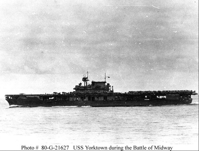 WWII - Midway, Yorktown about to launch her airstrike